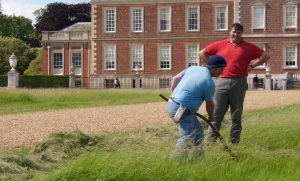 Sir George watching Mark Allery mow with the English scythe